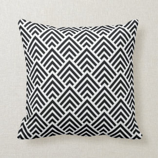 Elegant Black and White Chevron Geometric Pattern Throw Pillow