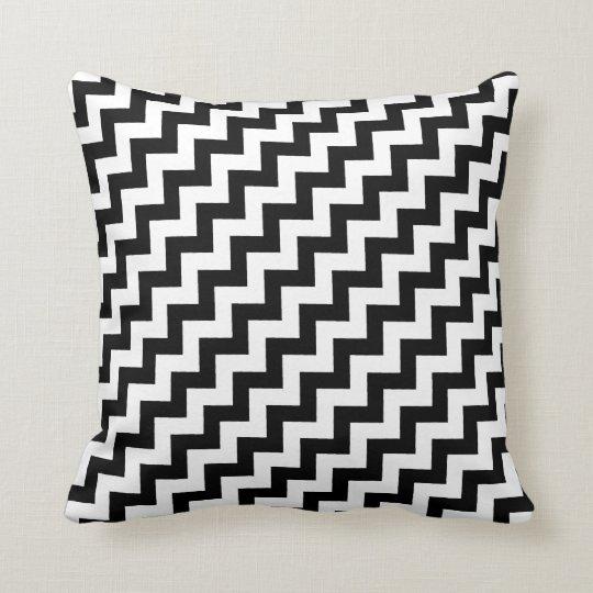 elegant black and white chevron stripes throw pillow