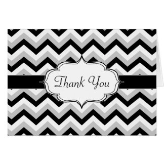 Elegant Black and White Chevron Zig Zag Stripes Greeting Card