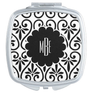 Elegant Black and White Compact Mirror
