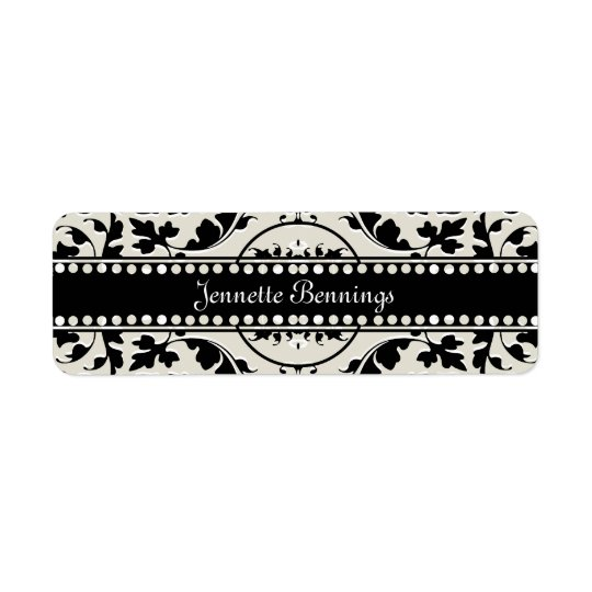 Elegant Black and White Damask Name Labels