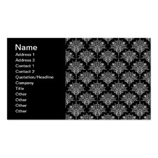 Elegant Black and White Damask Pattern Business Card Template