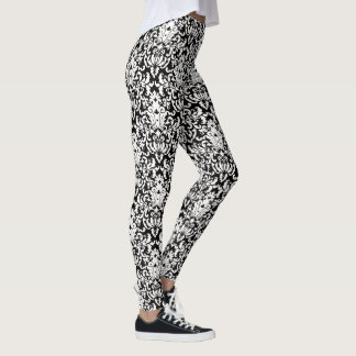 Elegant Black and White Damask Pattern Leggings