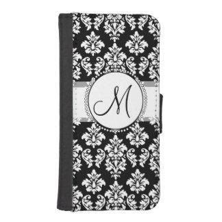 Elegant Black and White Damask Pattern Monogram iPhone SE/5/5s Wallet Case