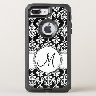 Elegant Black and White Damask Pattern Monogram OtterBox Defender iPhone 8 Plus/7 Plus Case