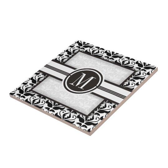 Elegant black and white damask pattern & monogram small square tile