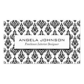 Elegant Black and White Damask Pattern Pack Of Standard Business Cards