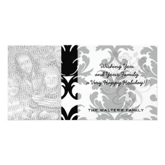 elegant black and white damask photo cards