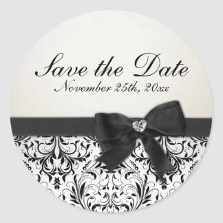 Elegant Black and White Damask Save the Date Round Sticker