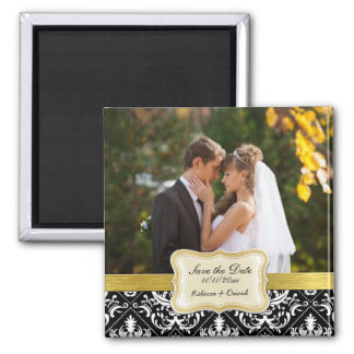 Elegant Black and White Damask Save the Date Square Magnet
