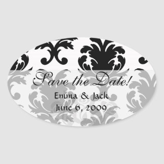 elegant black and white damask oval stickers