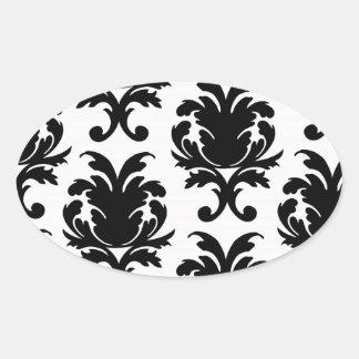 elegant black and white damask oval sticker