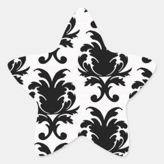 elegant black and white damask star sticker