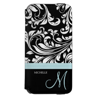 Elegant Black and White Damask with Monogram Incipio Watson™ iPhone 6 Wallet Case