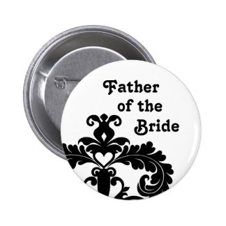 Elegant black and white Father of the Bride 6 Cm Round Badge