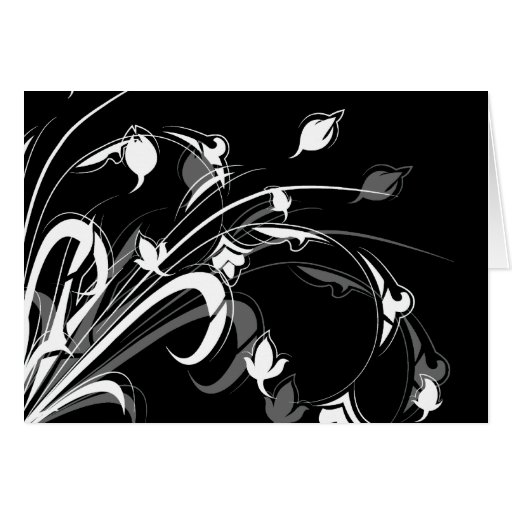Elegant Black and White Floral Card