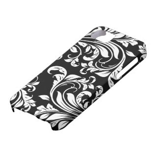 Elegant Black and white floral damask Barely There iPhone 5 Case