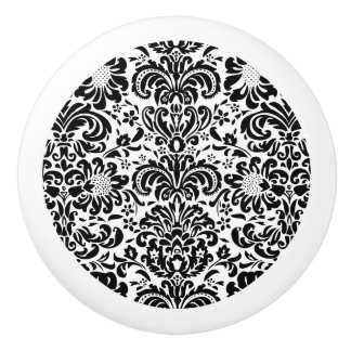 Elegant Black And White Floral Damasks Ceramic Knob