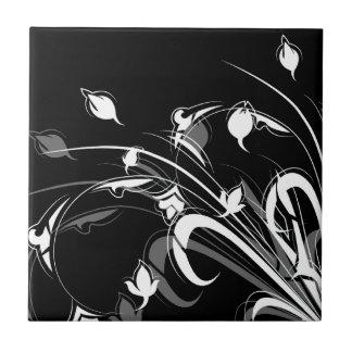 Elegant Black and White Floral Small Square Tile
