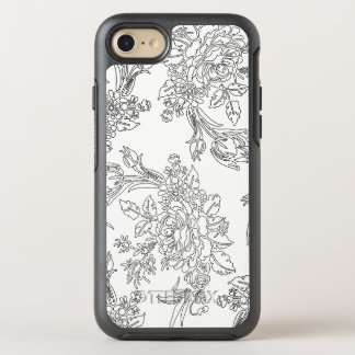 Elegant Black and White Floral Toile OtterBox Symmetry iPhone 8/7 Case