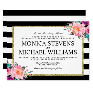 Elegant Black and White Floral Wedding Invitation