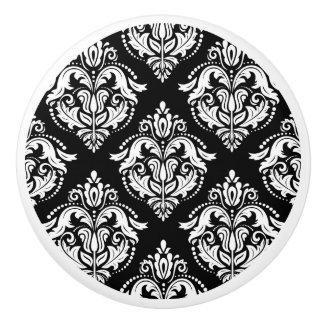 Elegant black and white geometric damasks pattern ceramic knob