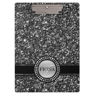 Elegant Black And White Glitter Clipboard