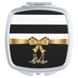 ELEGANT BLACK AND WHITE GOLDEN BOW MONOGRAM VANITY MIRROR
