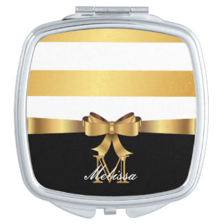 ELEGANT BLACK AND WHITE GOLDEN SATIN BOW MONOGRAM TRAVEL MIRRORS