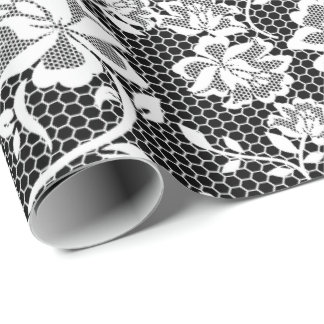 Elegant Black and White Lace Wrapping Paper