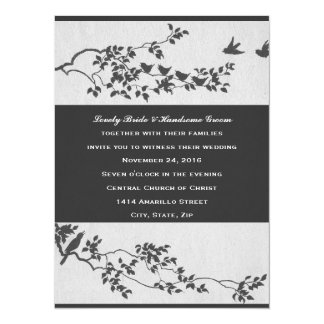 Elegant Black and White Minimalist Birds Wedding 14 Cm X 19 Cm Invitation Card