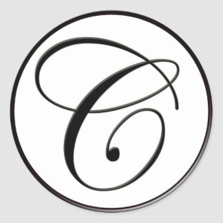 Elegant Black and White Monogram C Round Sticker