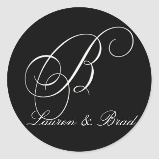 Elegant black and white monogram - initial B Round Sticker