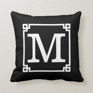 Elegant Black and White Monogram Template Throw Pillow