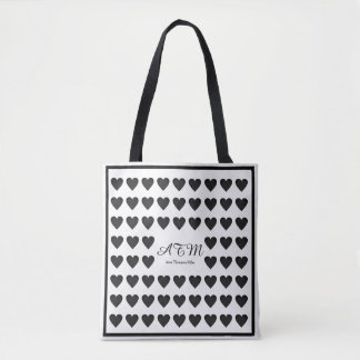 elegant black-and-white monogram tote bag + hearts