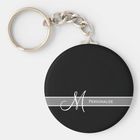 Elegant Black and White Monogram With Name Key