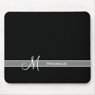 Elegant Black and White Monogram With Name Mouse Mat