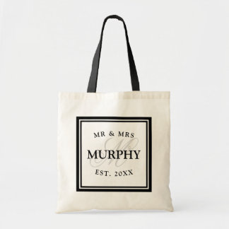 Elegant black and white mr mrs monogram wedding tote bag