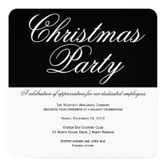 Elegant Black and White Office Christmas Party 13 Cm X 13 Cm Square Invitation Card