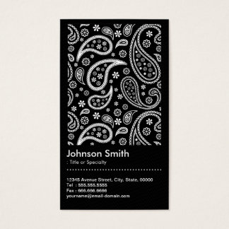 Elegant Black and White Paisley Pattern QR Code Business Card