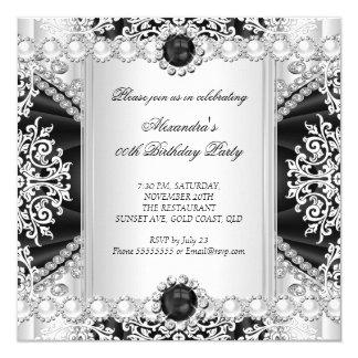Elegant Black And White Pearl Birthday Party 13 Cm X 13 Cm Square Invitation Card