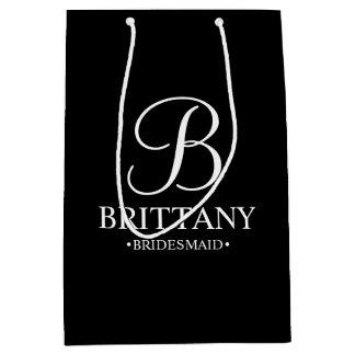Elegant Black and White Personalized Bridesmaid Medium Gift Bag