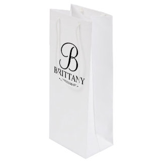 Elegant Black and White Personalized Bridesmaid Wine Gift Bag