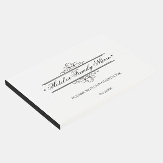 Elegant Black And White Personalized Hotel Family Guest Book