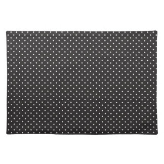 Elegant black and white polka pin dot dots pattern placemat