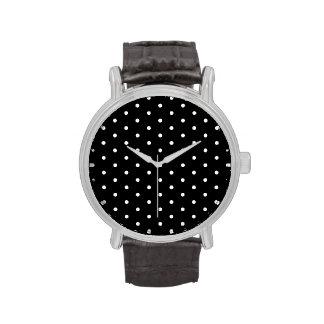 Elegant Black and White Retro Polka Dots Watch