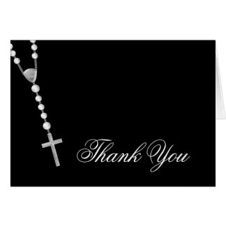 Elegant Black and White Rosary Thank You Card