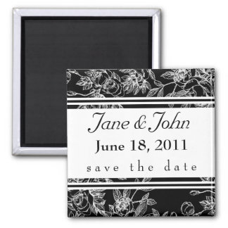 Elegant Black and White Rose Save the Date Magnet