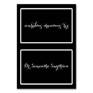 Elegant Black and White Script Tented Seating Table Card