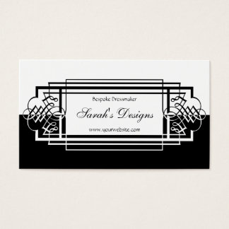Elegant Black and White Simplicity Scroll Design Business Card